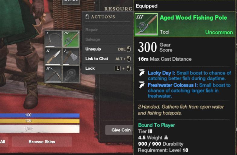 Tier 3 Aged Wood Fishing Pole