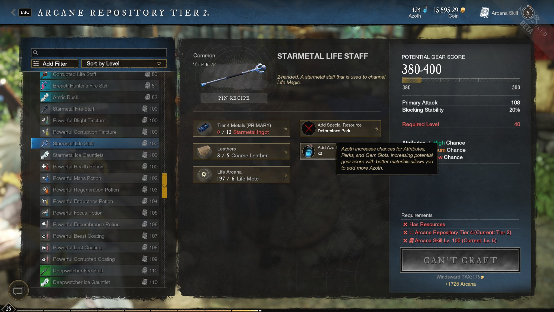 Starmetal Weapons – Arcane Repository Tier IV